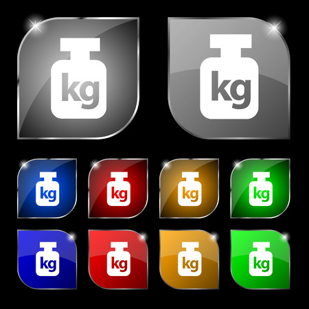 heaviness: Weight icon sign. Set of ten colorful buttons with glare. illustration