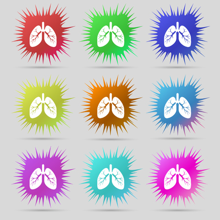pulmones: Lungs icon sign. A set of nine original needle buttons. illustration