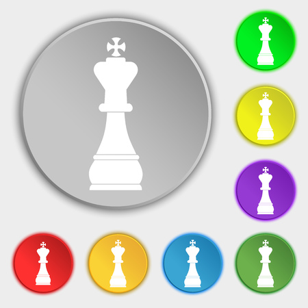 metaphorical: Chess king icon sign. Symbol on eight flat buttons. illustration