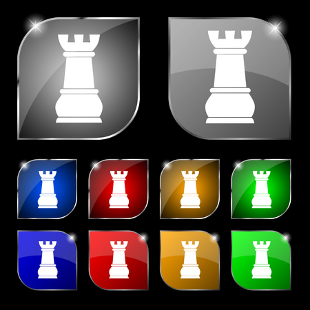 chess rook: Chess Rook icon sign. Set of ten colorful buttons with glare. illustration