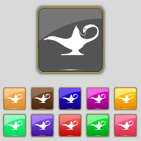 aladin: Alladin lamp genie icon sign. Set with eleven colored buttons for your site. illustration