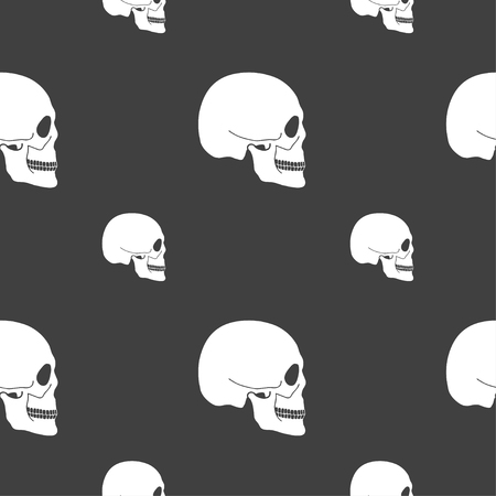 counterfeiting: Skull sign. Seamless pattern on a gray background. illustration