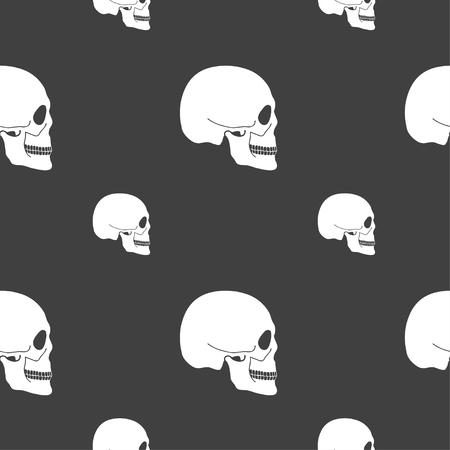Skull sign. Seamless pattern on a gray background. illustration