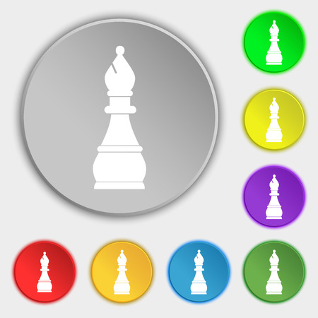 Chess bishop icon sign. Symbol on eight flat buttons. illustration