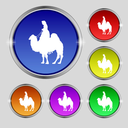 borden: Camel icon sign. Round symbol on bright colourful buttons. illustration