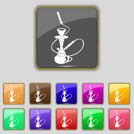 middle joint: Hookah icon sign. Set with eleven colored buttons for your site. illustration Stock Photo