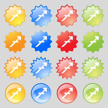 16: Sagittarius icon sign. Big set of 16 colorful modern buttons for your design. illustration