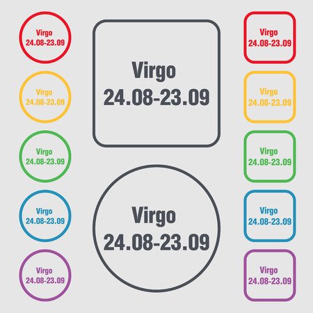 ecliptic: Virgo icon sign. symbol on the Round and square buttons with frame. illustration Stock Photo