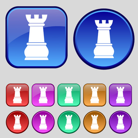 chess rook: Chess Rook icon sign. A set of twelve vintage buttons for your design. illustration Stock Photo