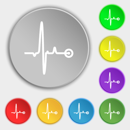 pulsating: Heartbeat icon sign. Symbol on eight flat buttons. illustration