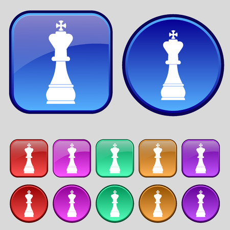 metaphorical: Chess king icon sign. A set of twelve vintage buttons for your design. illustration Stock Photo
