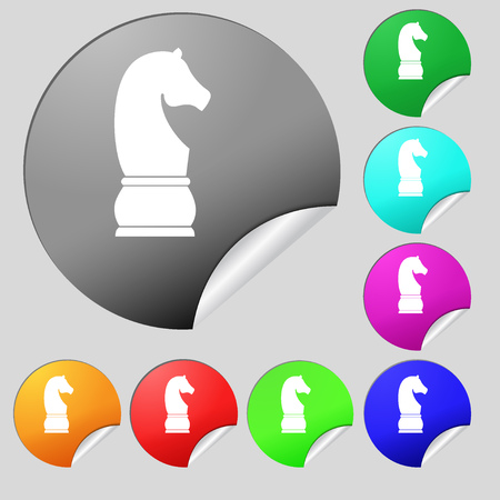 Chess knight icon sign. Set of eight multi colored round buttons, stickers. illustration