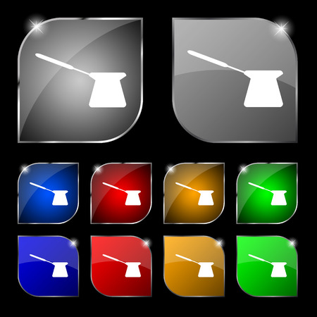 turk: Coffee turk icon sign. Set of ten colorful buttons with glare. illustration Stock Photo