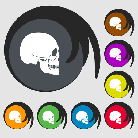 privateer: Skull sign icon. Symbols on eight colored buttons. illustration