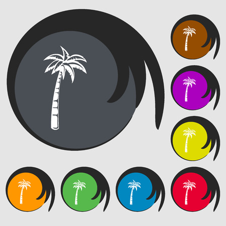 Palm sign icon. Symbols on eight colored buttons. illustration