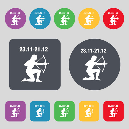 longbow: Sagittarius icon sign. A set of 12 colored buttons. Flat design. illustration