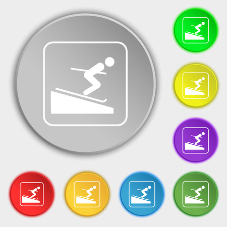 skier: Skier icon sign. Symbol on eight flat buttons. illustration Stock Photo