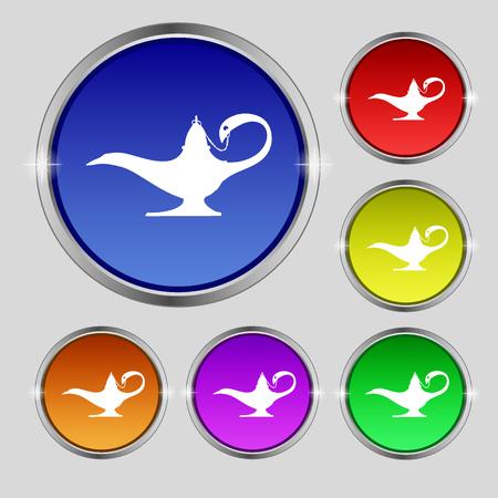 Alladin lamp genie icon sign. Round symbol on bright colourful buttons. illustration