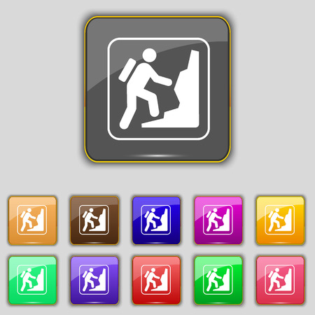 clambering: rock climbing icon sign. Set with eleven colored buttons for your site. illustration