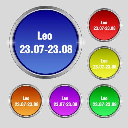 prophecy: Leo zodiac icon sign. Round symbol on bright colourful buttons. illustration