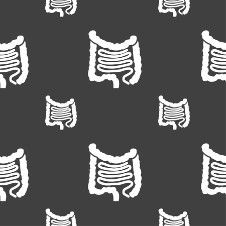 descending colon: Intestines sign. Seamless pattern on a gray background. illustration Stock Photo