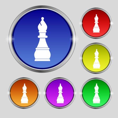 venganza: Ajedrez obispo icono de la muestra. símbolo redonda sobre los botones de colores brillantes. ilustración