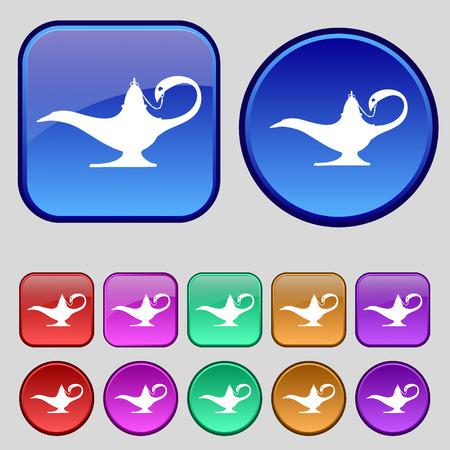 alladin: Alladin lamp genie icon sign. A set of twelve vintage buttons for your design. illustration