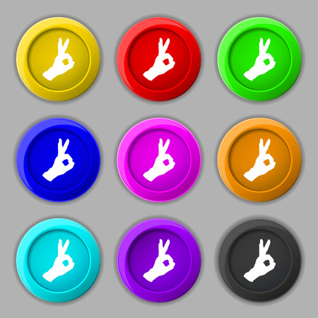 Gesture ok icon sign. symbol on nine round colourful buttons. illustration