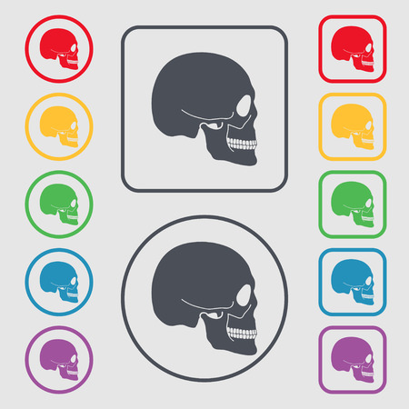 privateer: Skull icon sign. symbol on the Round and square buttons with frame. illustration Stock Photo