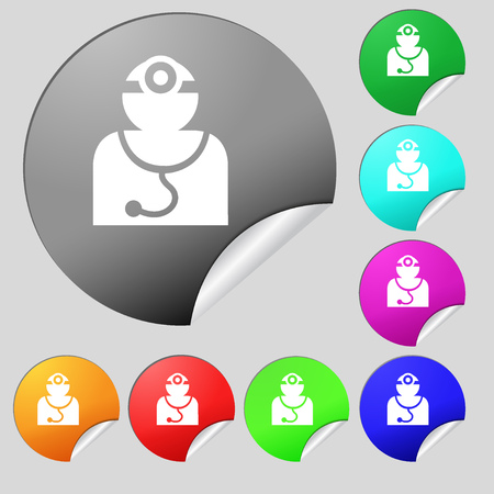 Doctor with stethoscope around his neck icon sign. Set of eight multi colored round buttons, stickers. illustration