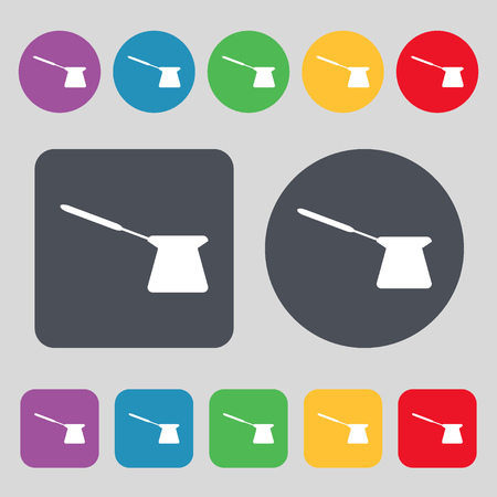 turk: Coffee turk icon sign. A set of 12 colored buttons. Flat design. illustration Stock Photo