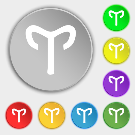 starsign: Decorative Zodiac Aries icon sign. Symbol on eight flat buttons. illustration