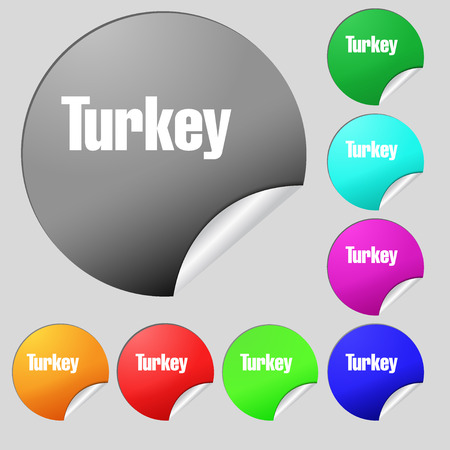 Turkey icon sign. Set of eight multi colored round buttons, stickers. illustration Stock Photo