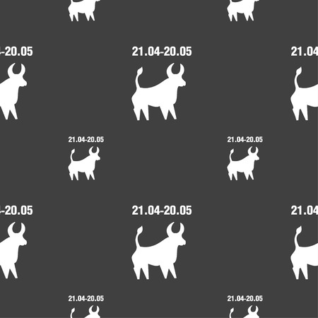 ecliptic: Taurus sign. Seamless pattern on a gray background. illustration