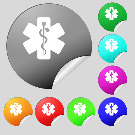 Medicine icon sign. Set of eight multi colored round buttons, stickers. illustration Stock Photo