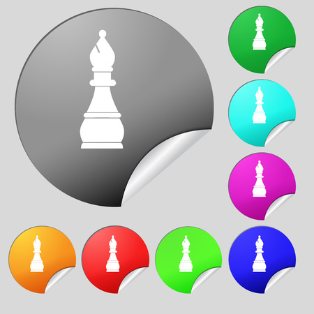 Chess bishop icon sign. Set of eight multi colored round buttons, stickers. illustration