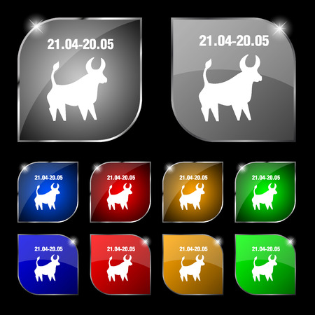 ecliptic: Taurus icon sign. Set of ten colorful buttons with glare. illustration