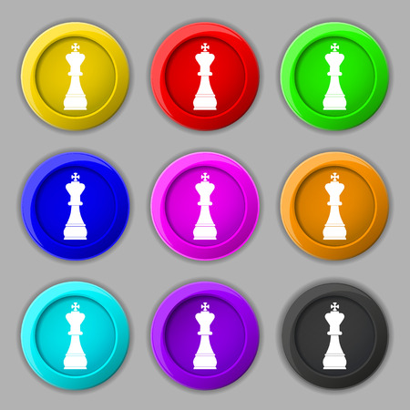 metaphorical: Chess king icon sign. symbol on nine round colourful buttons. illustration