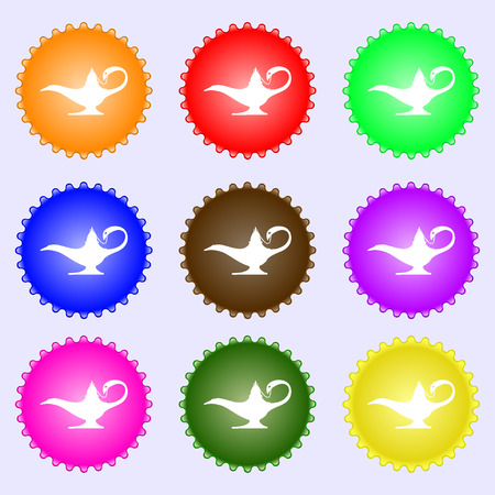 Alladin lamp genie icon sign. Big set of colorful, diverse, high-quality buttons. illustration