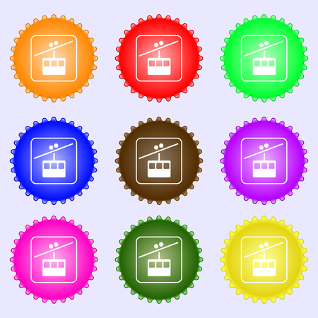 cable car line icon sign. Big set of colorful, diverse, high-quality buttons. illustration Stock Photo