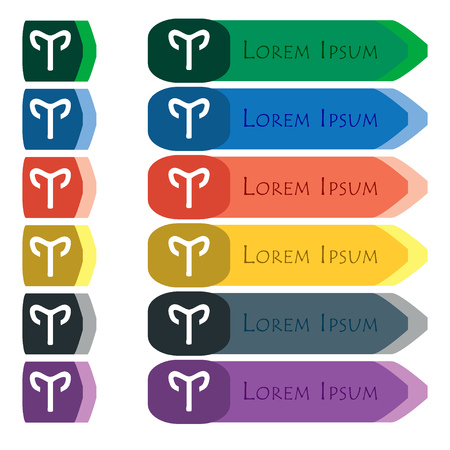 mouflon: Decorative Zodiac Aries icon sign. Set of colorful, bright long buttons with additional small modules. Flat design. Stock Photo