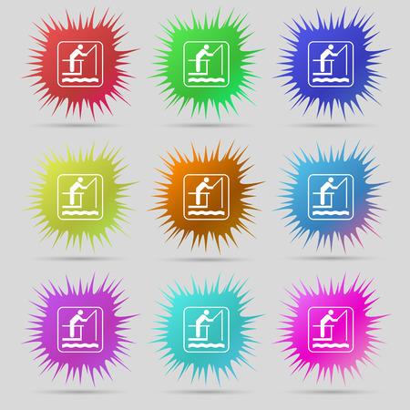 fishing icon sign. A set of nine original needle buttons. illustration Stock Photo