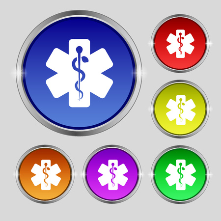 Medicine icon sign. Round symbol on bright colourful buttons. illustration