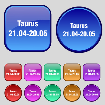 ecliptic: Taurus icon sign. A set of twelve vintage buttons for your design. illustration