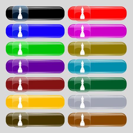 venganza: Ajedrez obispo icono de la muestra. Conjunto de catorce botones multicolores de vidrio con el lugar de texto. ilustración Foto de archivo