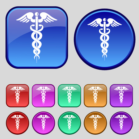 esculapio: medicine icon sign. A set of twelve vintage buttons for your design. illustration Foto de archivo