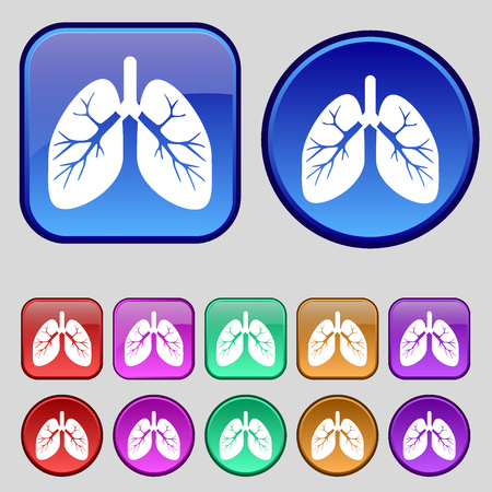 pulmones: Lungs icon sign. A set of twelve vintage buttons for your design. illustration