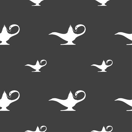 alladin: Alladin lamp genie sign. Seamless pattern on a gray background. illustration