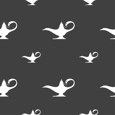 Alladin lamp genie sign. Seamless pattern on a gray background. illustration