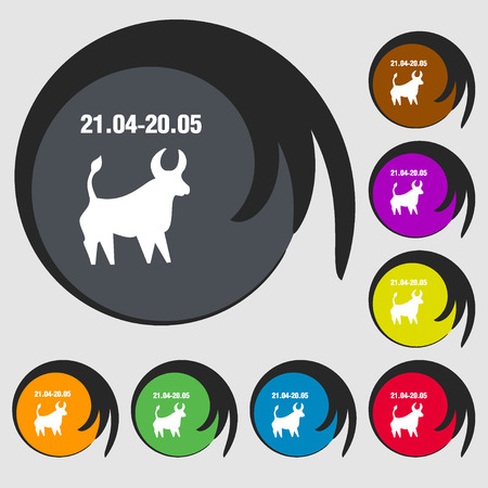 taurus sign: Taurus sign icon. Symbols on eight colored buttons. illustration